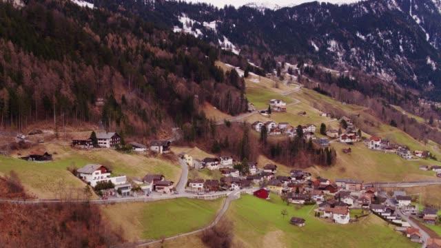 Scattered Chalets on Hillside in Liechtenstein - Drone Shot video