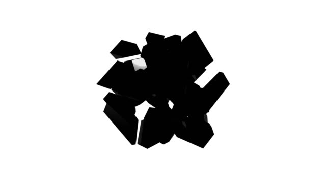 Scattering and picking up a black cube on an isolated background. Abstract digital backdrop Scattering and picking up a black cube on an isolated background. Abstract digital backdrop. 3D rendering square composition stock videos & royalty-free footage