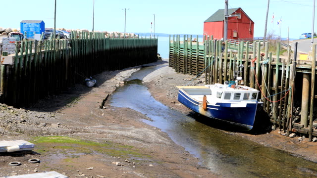 Scene of Halls Harbour boat at low tide