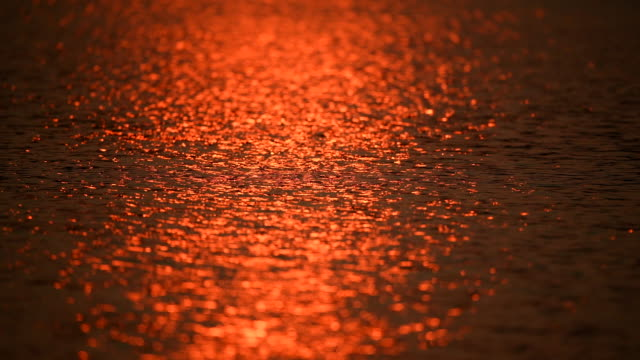 Scene of water surface at sunset