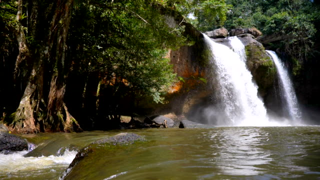 Scene slow motion of Haew Suwat Waterfall in Khao Yai National Park, Thailand