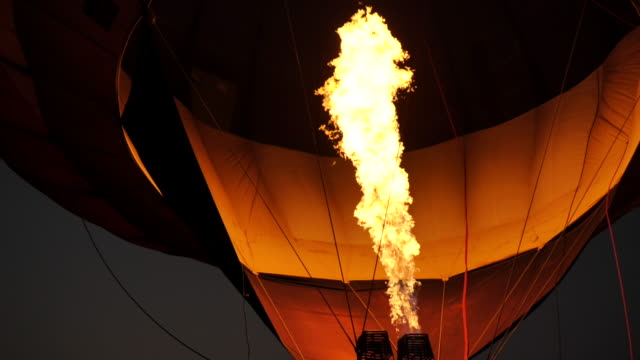 Scene slow motion of hot air balloon, Fire bursts in the balloon