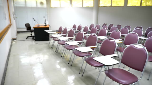 Scene slow motion of Interior empty classroom in university, Concept of Back to school