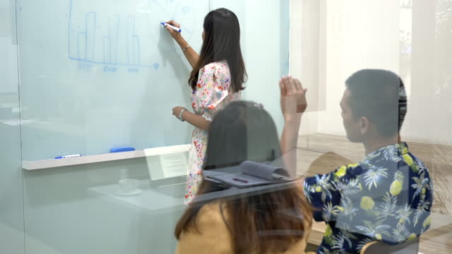 Scene slow motion of young asian woman leader in lace shirt is standing writing on glass whiteboard and giving direction to young creative team, Brainstorming of multiethnic group, Concept of business asian women leaders
