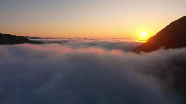 vídeos de stock, filmes e b-roll de vista aérea de cenário, drone voando através de nuvens para montanhas de pinheiros nevado com geada no inverno, vista de pássaro de bela paisagem da natureza sob céu de tirar o fôlego. - alto descrição geral