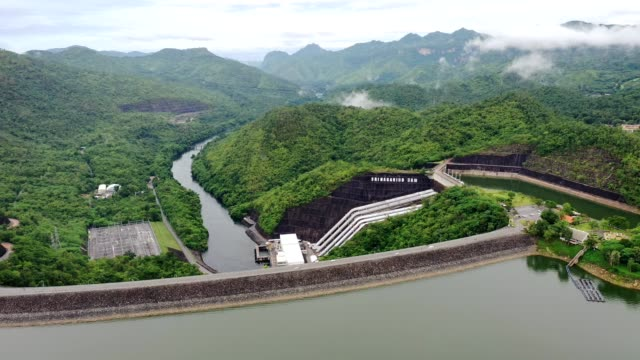 Scenery of Dam in tropical rainforest with hydro power plant in national park