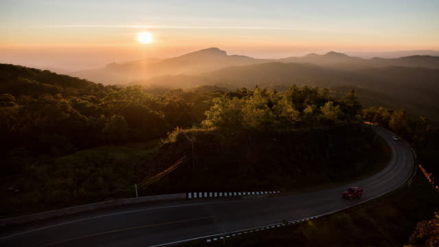Scenery of Mountain with sunrise time lapse and moving mist , Nature footage background video