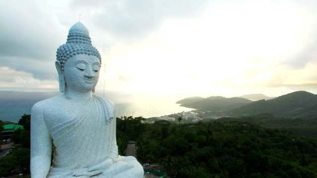 scenery panoramic phuket big buddha in sunset time. - phuket video stock e b–roll
