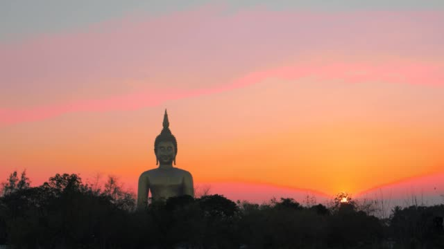 scenery sunset at the bigest Buddha in the world.
