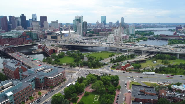 Scenic aerial shot of boston Massachusetts video