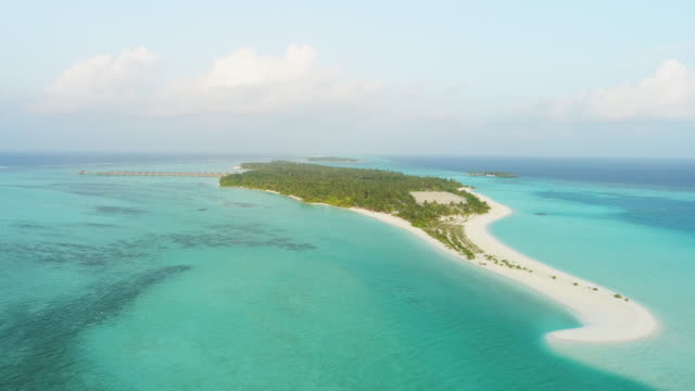 WS Scenic aerial view idyllic tropical island,Maldives WS Scenic aerial view idyllic tropical island,Maldives. Real Time. indian ocean stock videos & royalty-free footage