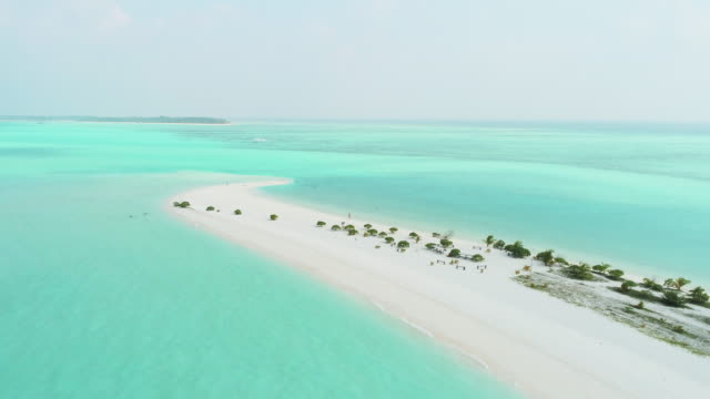 WS Scenic aerial view idyllic tropical sunny beach and ocean,Maldives video