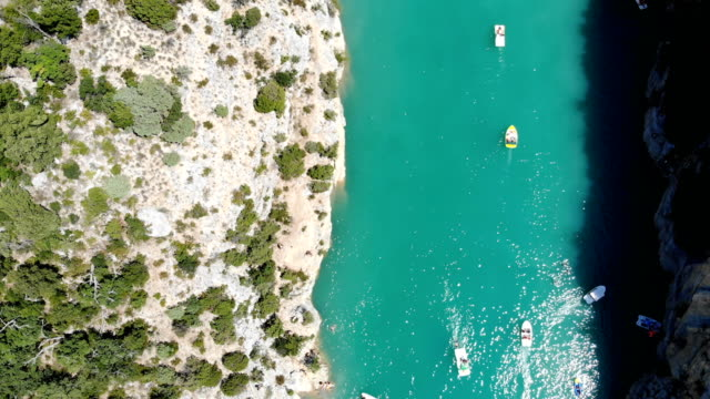 Scenic aerial view of boats on  Verdon lake