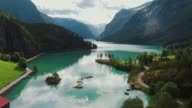 istock Scenic aerial view of glacier river in Norway 1224435280