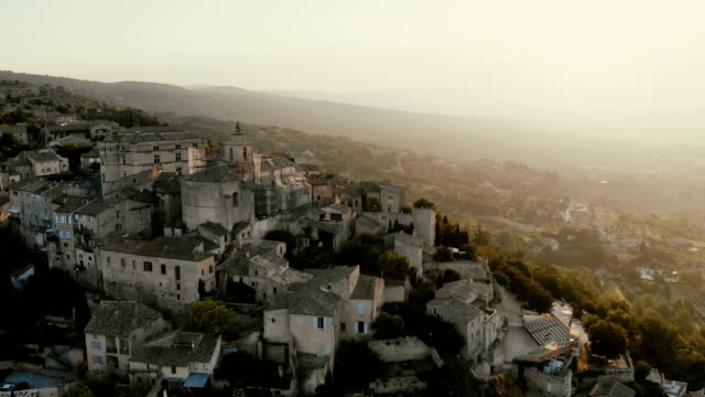 Scenic aerial  view of Gordes village in Provence