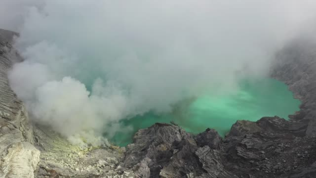 Scenic aerial view of Ijen volcano and sulphur minings