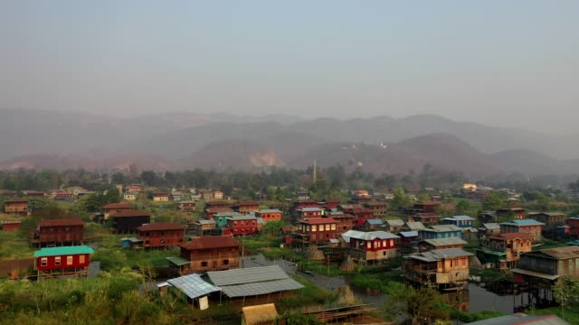 Scenic aerial view of Inle Lake village