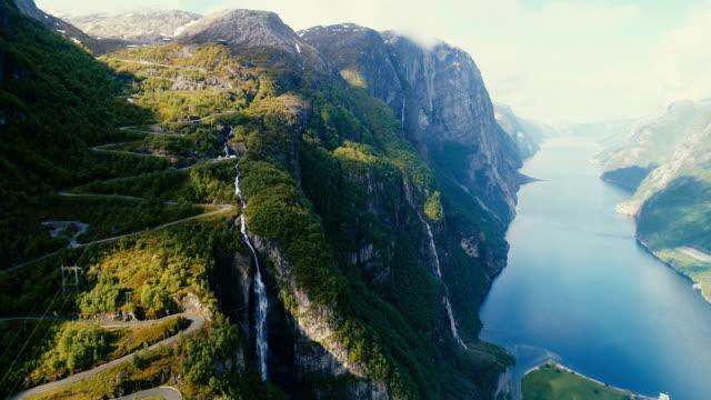 natursköna flygfoto över lysefjorden - norge bildbanksvideor och videomaterial från bakom kulisserna