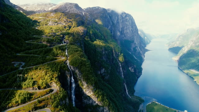 scenic aerial view of lysefjorden - fiordo video stock e b–roll