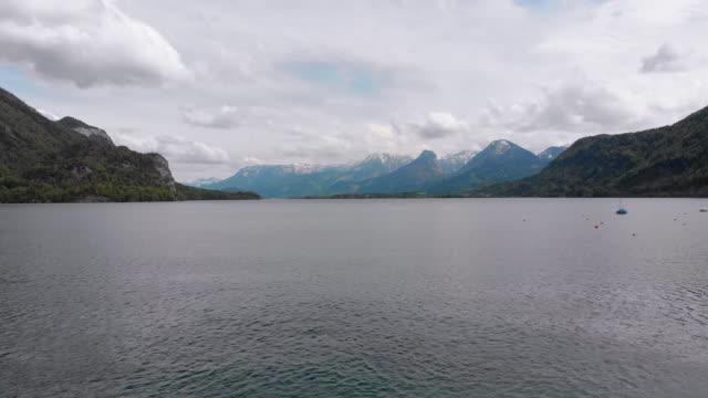 Scenic Aerial view of Mountain Lake, Wolfgangsee, Salzburg, Austria, Alps