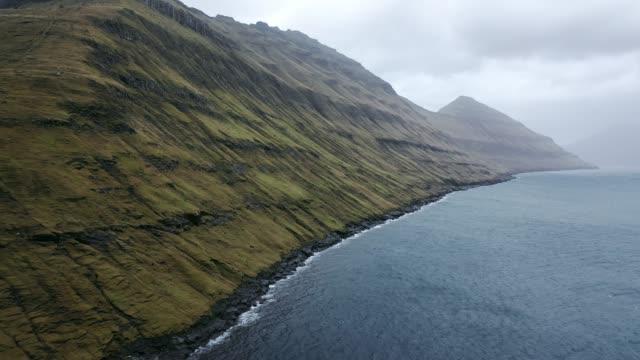 stockvideo's en b-roll-footage met schilderachtig lucht zicht op zee op faeröer - rocks sea