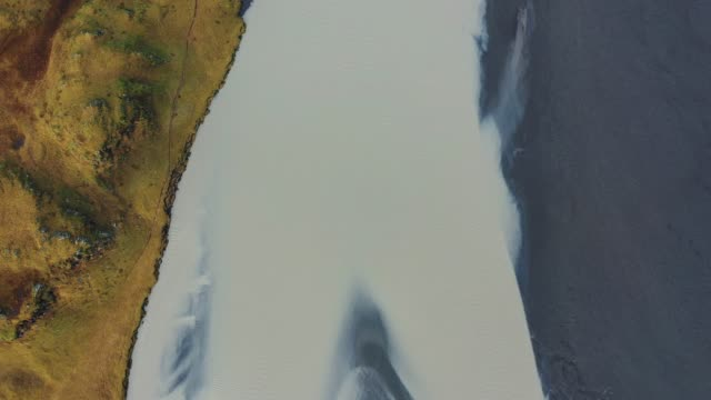 Scenic aerial view of the river in Iceland video
