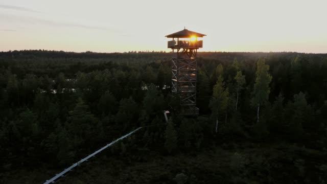 Scenic aerial view of watchtower on  swamp in Estonia Scenic aerial view of watchtower on  swamp in Estonia estonia stock videos & royalty-free footage