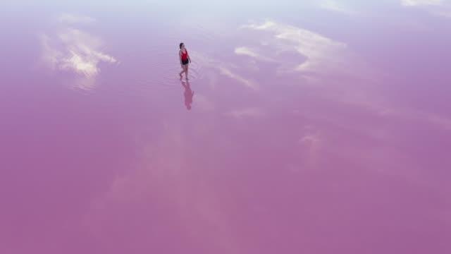 ウクライナのピンクの塩湖を歩く女性の風光明媚な空中写真 - ピンク色点の映像素材/bロール