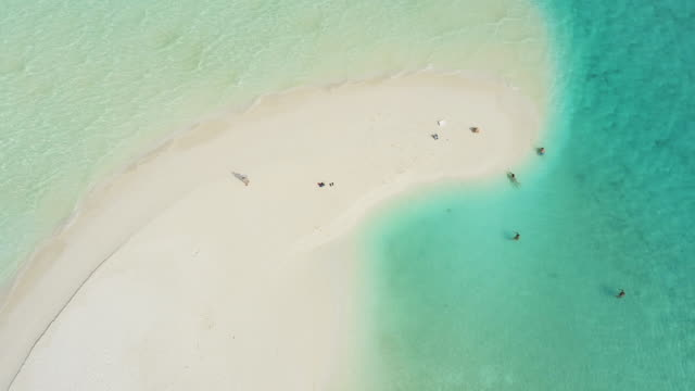 WS Scenic aerial view people on tropical sunny beach,Maldives video