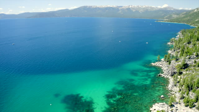 Scenic aerial views on beautiful Tahoe Lake. Crystal clear water and bright summer colors.