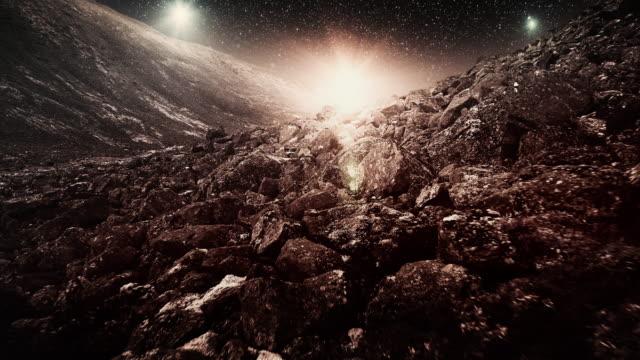 malerische fremden planeten landschaft - cosmic abstract background with stock-videos und b-roll-filmmaterial