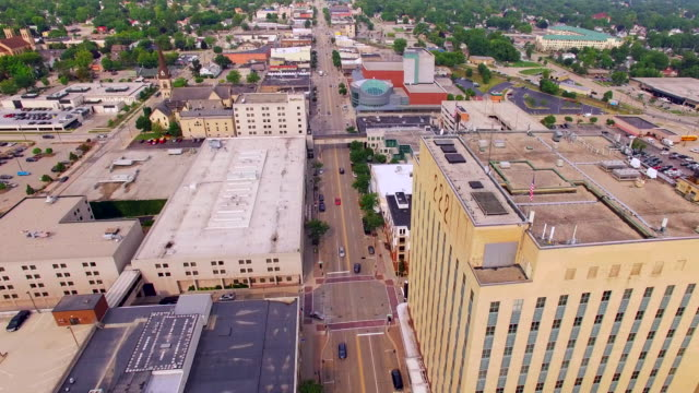 Scenic Appleton, Wisconsin, Downtown Buildings Aerial Flyover, College Avenue video