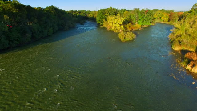 Scenic Autumn Wilderness, River Fork, Aerial Flyover video