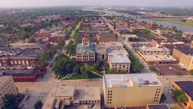 Scenic Downtown Green Bay Wisconsin Aerial Flyover video