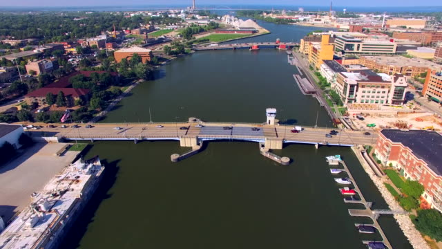 Scenic Downtown Green Bay Wisconsin Aerial Tour of Waterfront video