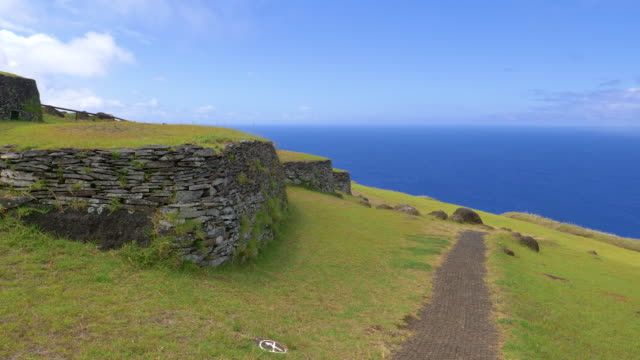 AERIAL: Scenic drone shot of old stone houses on picturesque Easter Island. video