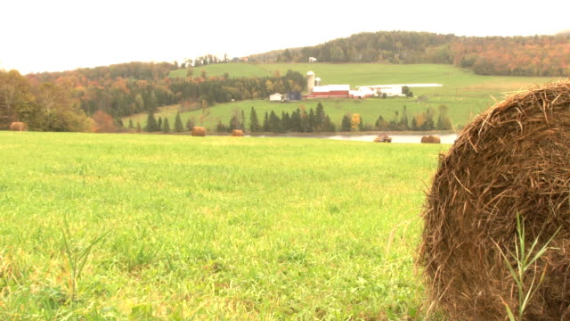 scenic farm with hay bail video