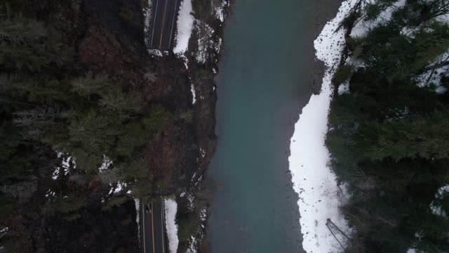 Scenic Highway Tunnel Aerial by Mountain Forest River video