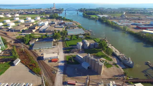 Scenic Industrial Park, River, Aerial View video