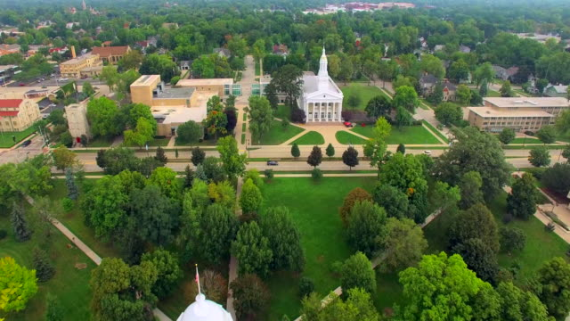 Scenic Lawrence University Campus, Appleton Wisconsin, Aerial View