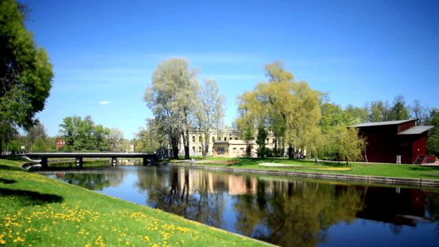 scenic river landscape in spring Tilt Film video