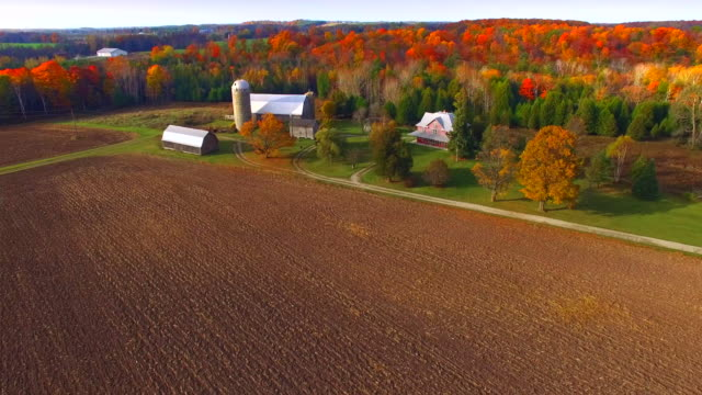 Scenic Rural Heartland Flyover, Landscape With Amazing Autumn colors