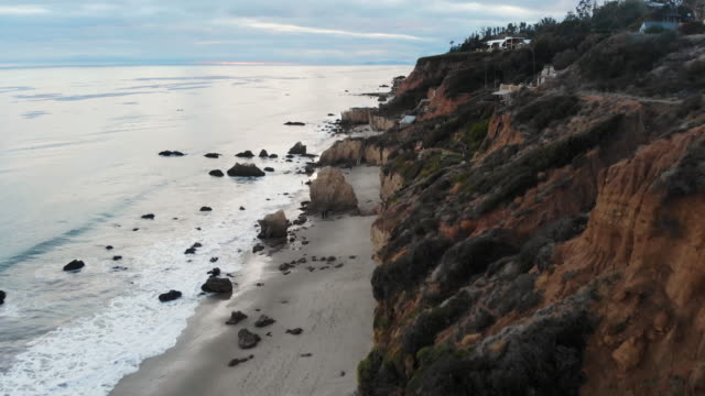 Scenic top view to El Matador state beach with sand and rocks in Malibu