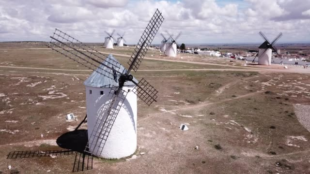Scenic view from drone of ancient windmills