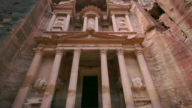 Scenic view  of Al-Khazneh in Petra Scenic view  of Al-Khazneh in Petra treasury stock videos & royalty-free footage
