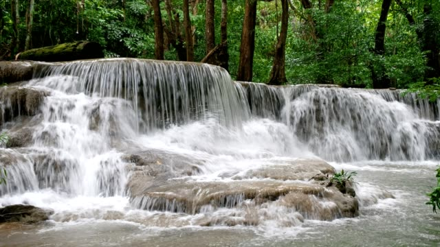Scenic view of Huay Mae Khamin Waterfall in tropical rainforest Scenic view of Huay Mae Khamin Waterfall in tropical rainforest at national park, Kanchanaburi, Thailand rapids river stock videos & royalty-free footage