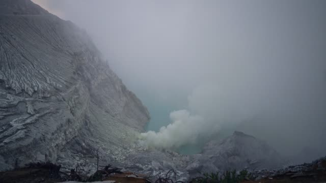 Scenic view of Ijen volcano and sulphur minings