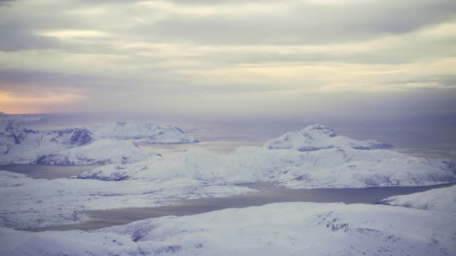 Scenic view of seaside on Lofoten island from above in winter