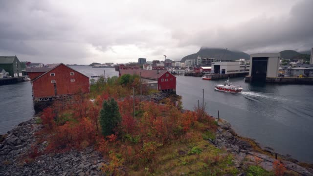 Scenic view of ship cruising in fishing village in Lofoten Islands