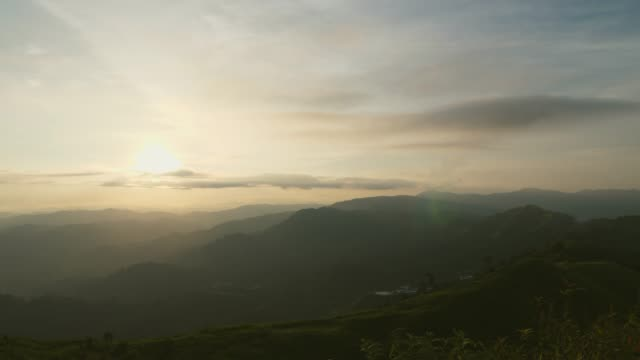 Scenic View of Sunset and Silhouette Mountains with Dramatic Sky video